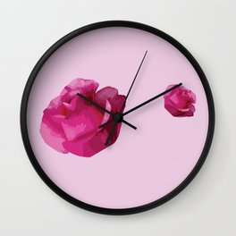 Pink Rose Flowers Wall Clock