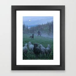 Shepherd and his faithful dog Framed Art Print