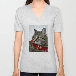 A portrait of a grey cat in a cape with a logo of Superman.  Unisex V-Neck