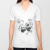 kraken V-neck T-shirts featuring 'Kraken' by emily sams