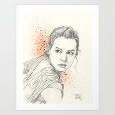 REY AWAKENS Art Print