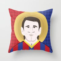 messi Throw Pillows featuring Messi Barcelona by Damian Allende