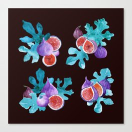 Watercolor Figs Fruit and Leaves Canvas Print