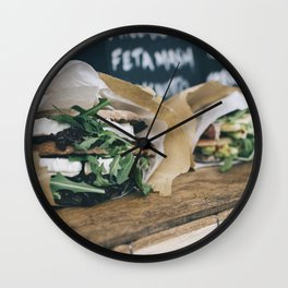 Healthy sandwiches with cheese and vegetables Wall Clock
