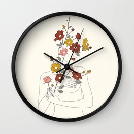 Colorful Thoughts Minimal Line Art Woman with Wild Roses Wall Clock