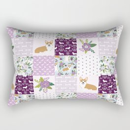 Corgi Patchwork Print - purple ,florals , floral, spring, girls feminine corgi dog Rectangular Pillow