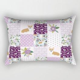 Corgi Patchwork Print - purple ,florals , floral, spring, girls feminine corgi dog Rectangular Pillow