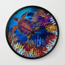 Sea Turtle On A Coral Reef Wall Clock