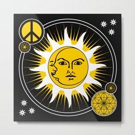 Sun & Moon / Peace Sign Sacred Geometry Metal Print