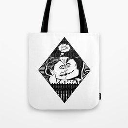 Love Hurts - Black & White Illustration of Couple Kissing Tote Bag