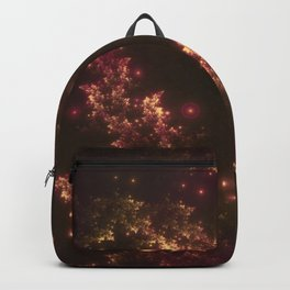 Fractal Leaves Red Glow Backpack