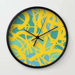 Yellow Green Acqua Abstract Organic Pattern Desig Wall Clock