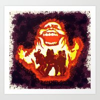 ghost busters Art Prints featuring Pumpkin carving Ghost Busters  by grapeloverarts