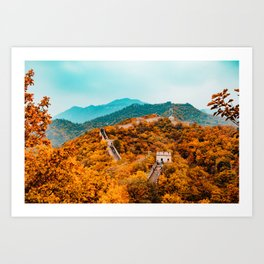 The Great Wall of China in Autumn (Color) Art Print