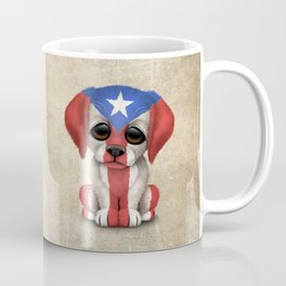 Cute Puppy Dog with flag of Puerto Rico Coffee Mug