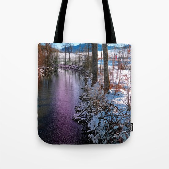 Quiet river in winter time Tote Bag