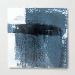 Torn Edges Blue - Blue Grey and White Minimalist Abstract Painting Metal Print