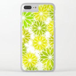 Patrón sin fisuras con hojas verdes en forma de flor para el concepto de la naturaleza Clear iPhone Case