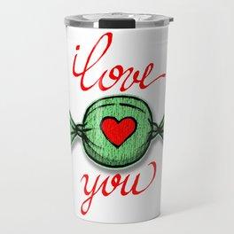 I love you (green) written in red Travel Mug