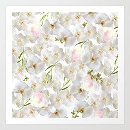 Elegant white orchid blush pink watercolor floral Art Print