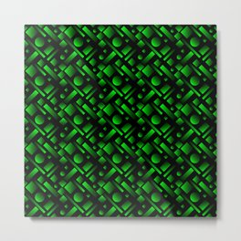 Geometric volumetric design with circles and green rectangles from stripes. Metal Print