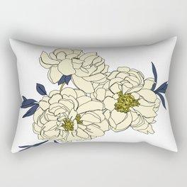 Botanical floral illustration line drawing - Peony Rectangular Pillow