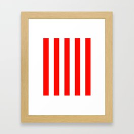 Candy apple red - solid color - white vertical lines pattern Framed Art Print