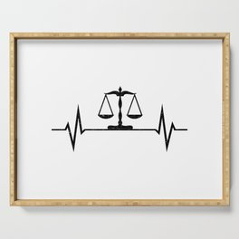 Scales Of Justice Heartbeat Lawyer Judge Serving Tray