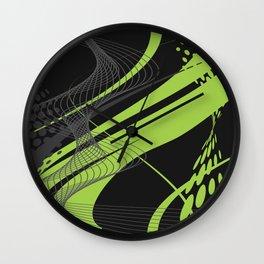 Green Black Abstract Future Technical Wall Clock