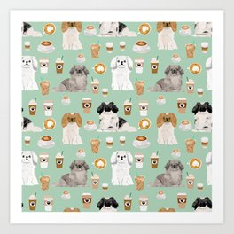 Pekingese dog breed dog pattern pet portraits coffee food dog breeds pet friendly Art Print