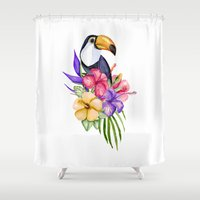 toucan Shower Curtains featuring Toucan by Julia Badeeva
