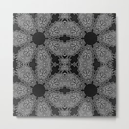 Black Slate Gray Crystal Pattern Metal Print