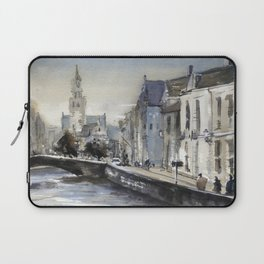 Church rising over medieval buildings of Bruges, Belgium at Jan Van Eyck Square. Laptop Sleeve