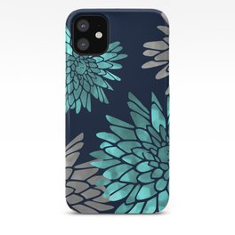 Floral Chrysanthemum Modern Navy Aqua iPhone Case
