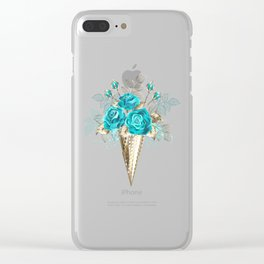 Waffle Cone with Turquoise Roses Clear iPhone Case