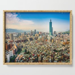 Aerial view and cityscape of Taipei, Taiwan Serving Tray