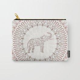 Cream Ombre Mandala Elephant Carry-All Pouch