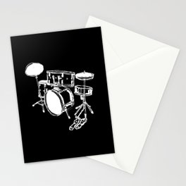Drum Kit Rock Black White Stationery Cards