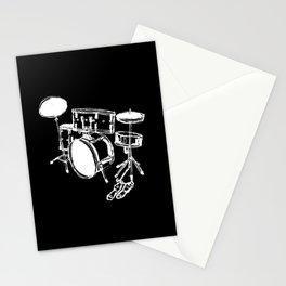 Drum Kit Rock Black White Stationery Cards