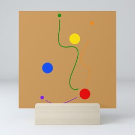 Freedom dots and lines design on ochre colored background  Mini Art Print