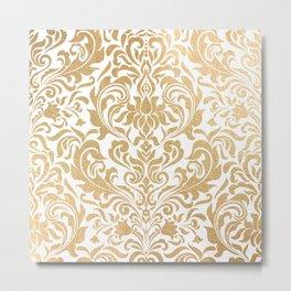 Gold foil swirls damask #12 Metal Print