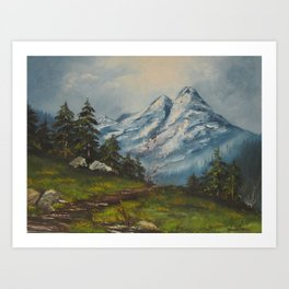 Landscape Forrest and Mountains Art Print