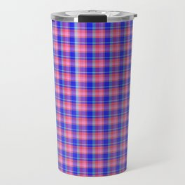 Pink Blue Scottish Tartan Travel Mug
