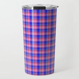 Pink Blue Scottish Tartan Travel Mug