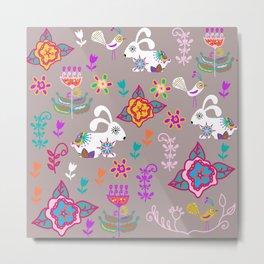 Bunnyes and pink flowers Metal Print
