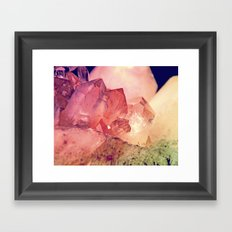 Quartz Mineral Gem Cluster Framed Art Print