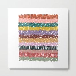Striped Scribble Pattern Metal Print
