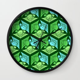 Japanese Cranes, Jade Green and Light Blue Wall Clock