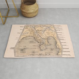 Vintage Map Print - 1513 of Southeast Asia, China and India map by Martin Waldseemüller Rug
