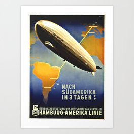"""""""Graf Zeppelin"""" to South America,1930's poster Art Print"""